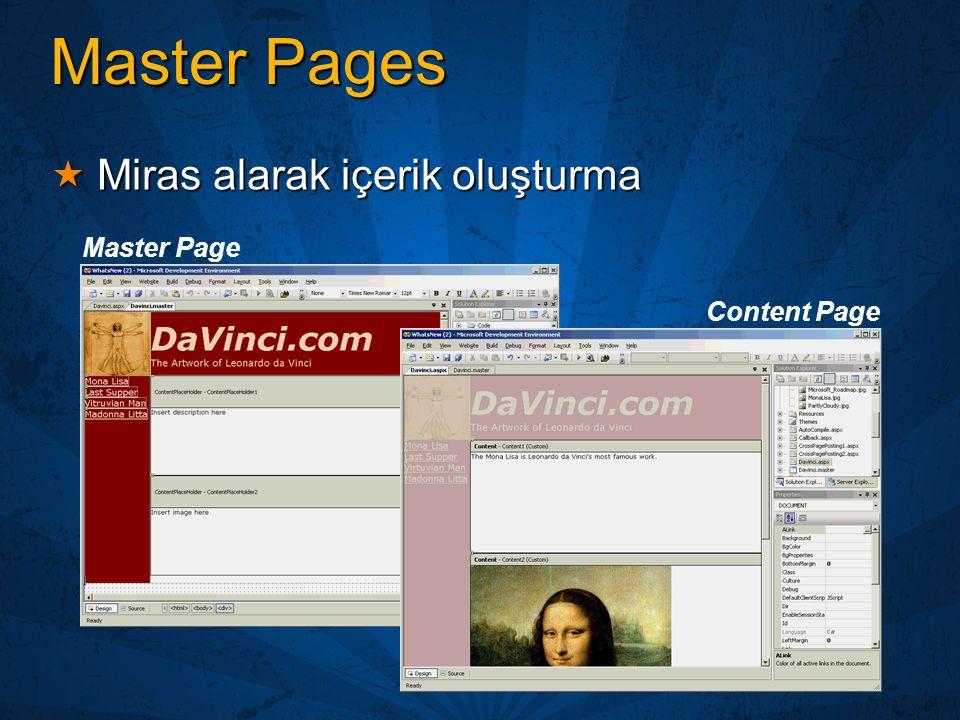 Master Pages Miras alarak içerik oluşturma Master Page Content Page