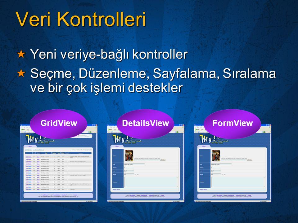Veri Kontrolleri Yeni veriye-bağlı kontroller