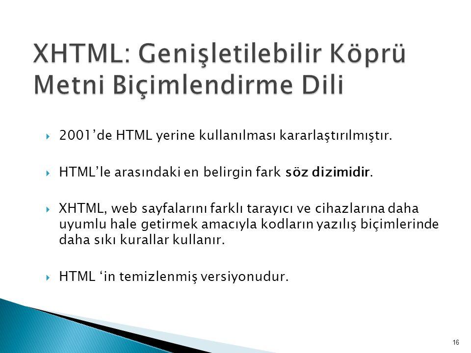 XHTML: Genişletilebilir Köprü Metni Biçimlendirme Dili