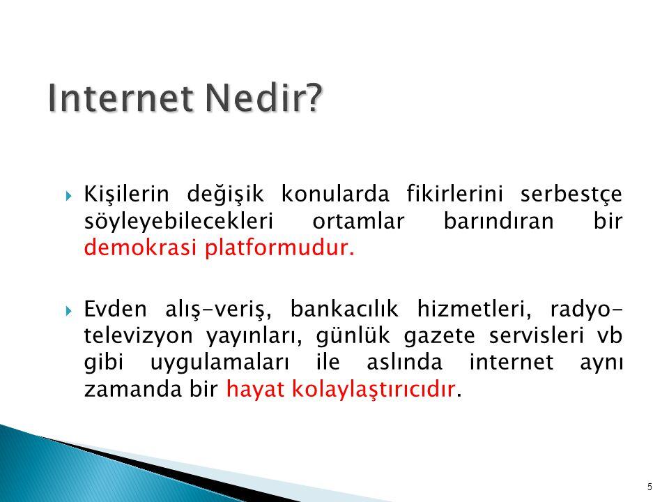Internet Nedir Kişilerin değişik konularda fikirlerini serbestçe söyleyebilecekleri ortamlar barındıran bir demokrasi platformudur.