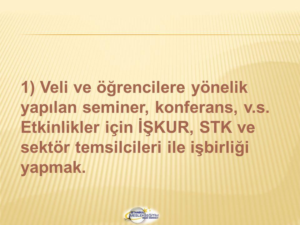 1) Veli ve öğrencilere yönelik yapılan seminer, konferans, v. s