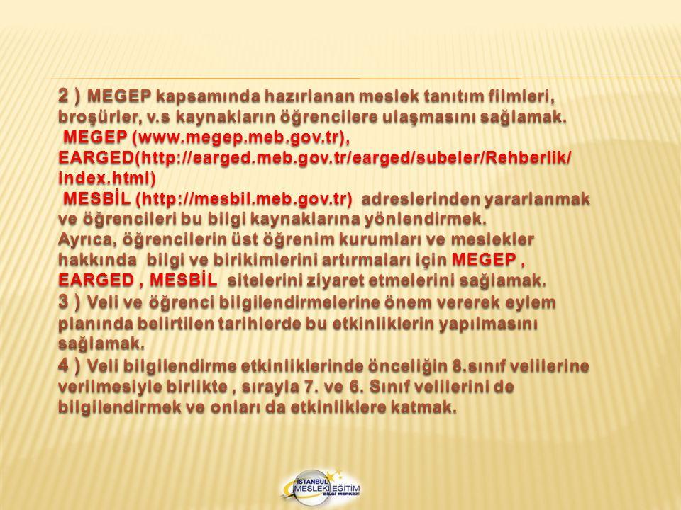 2 ) MEGEP kapsamında hazırlanan meslek tanıtım filmleri, broşürler, v
