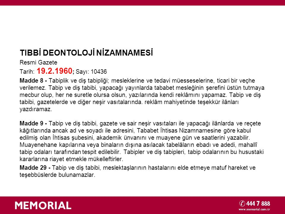 TIBBİ DEONTOLOJİ NİZAMNAMESİ