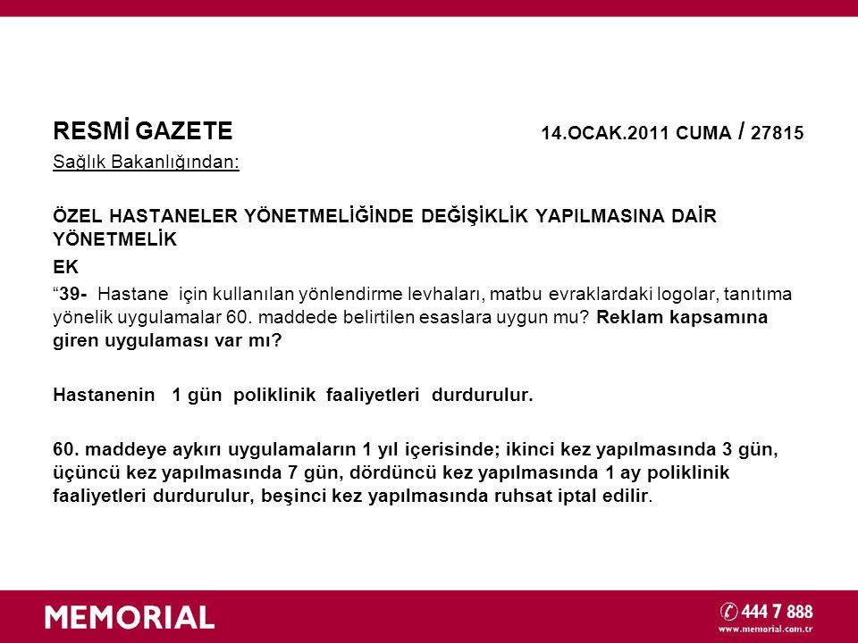 RESMİ GAZETE 14.OCAK.2011 CUMA / 27815