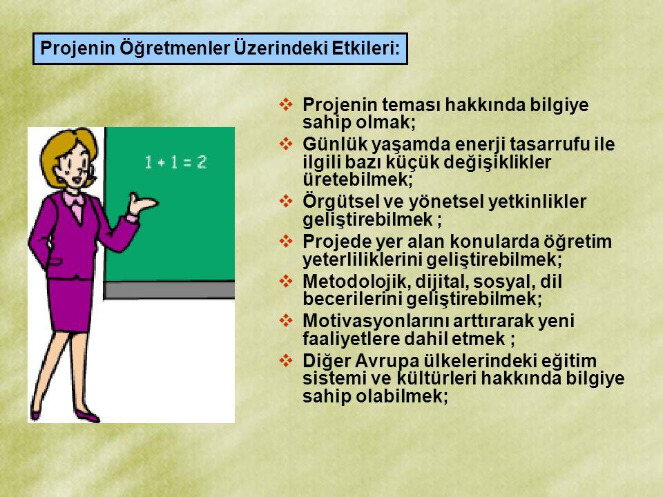 Projenin Öğretmenler Üzerindeki Etkileri: