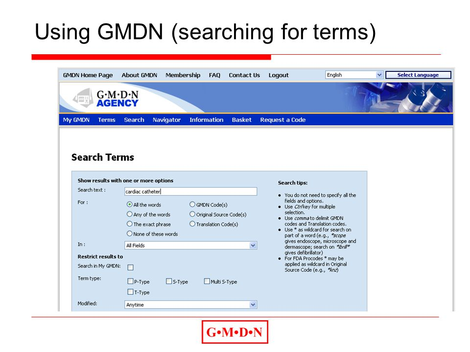 Using GMDN (searching for terms)