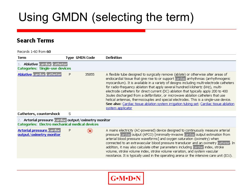 Using GMDN (selecting the term)