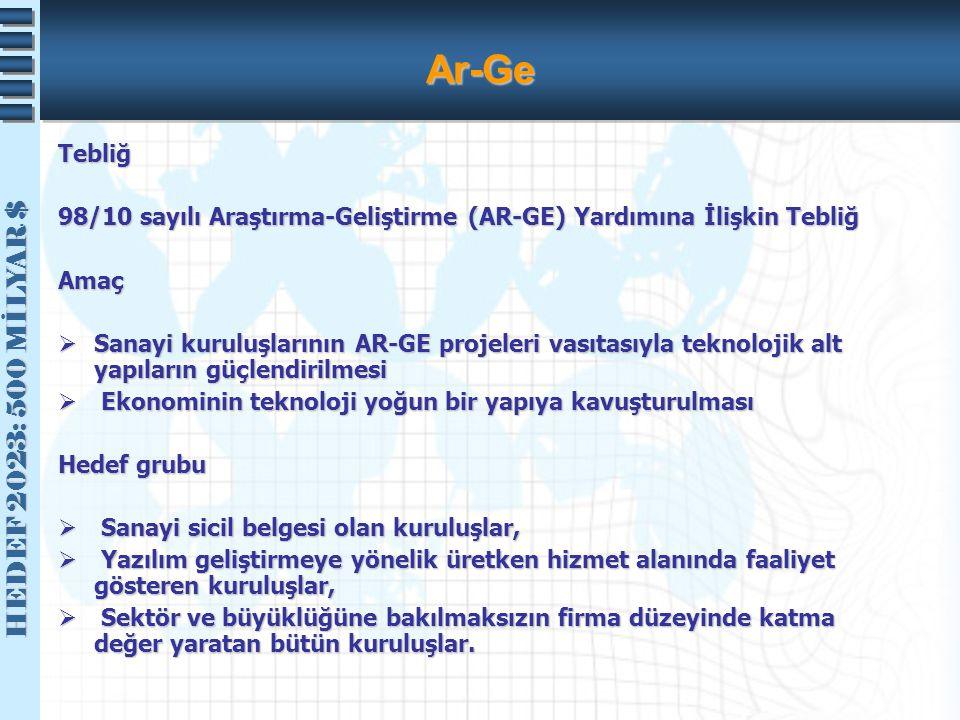 Ar-Ge Tebliğ. 98/10 sayılı Araştırma-Geliştirme (AR-GE) Yardımına İlişkin Tebliğ. Amaç.