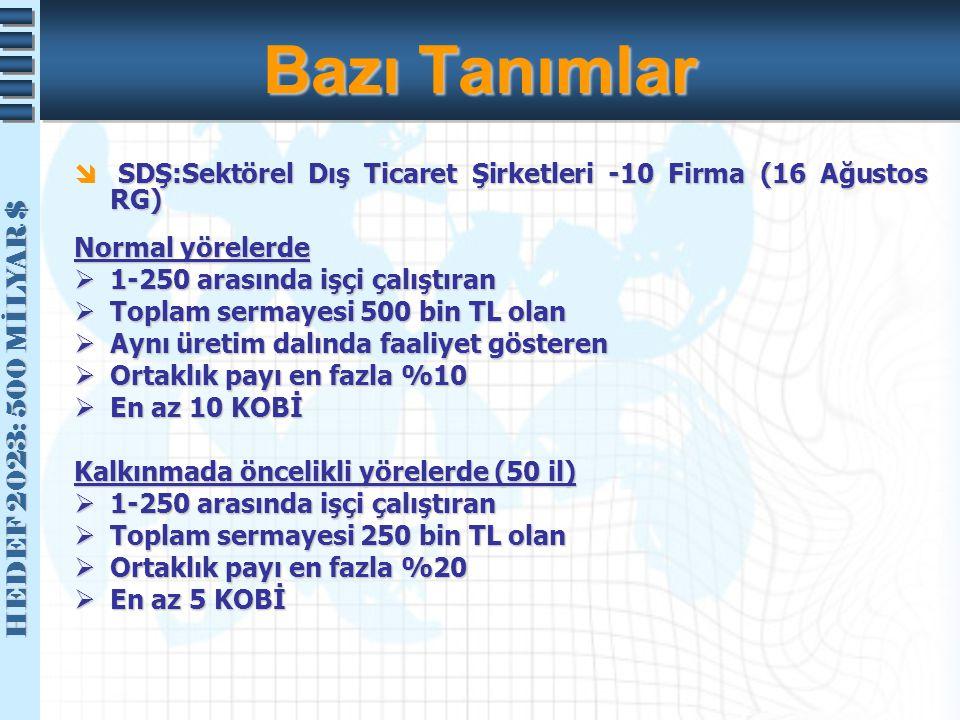 Bazı Tanımlar SDŞ:Sektörel Dış Ticaret Şirketleri -10 Firma (16 Ağustos RG) Normal yörelerde. 1-250 arasında işçi çalıştıran.
