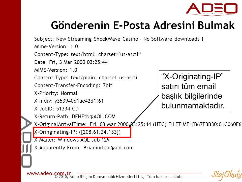 Gönderenin E-Posta Adresini Bulmak