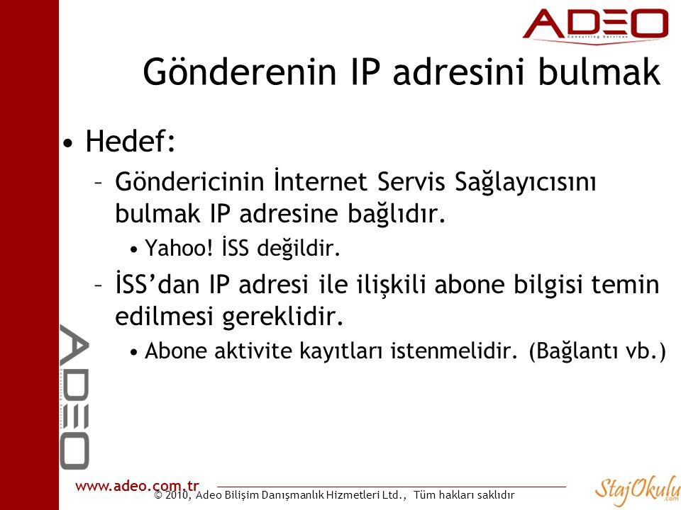 Gönderenin IP adresini bulmak