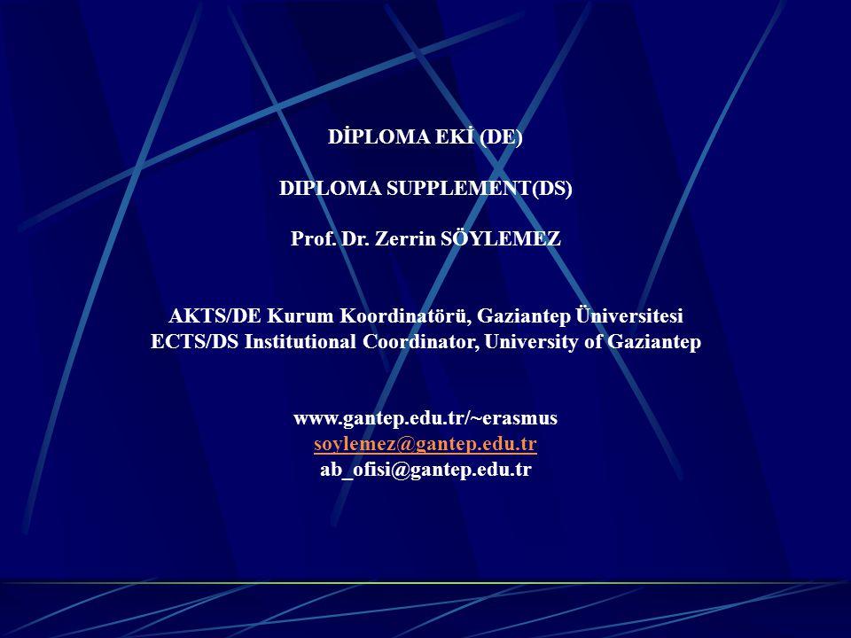DIPLOMA SUPPLEMENT(DS) Prof. Dr. Zerrin SÖYLEMEZ