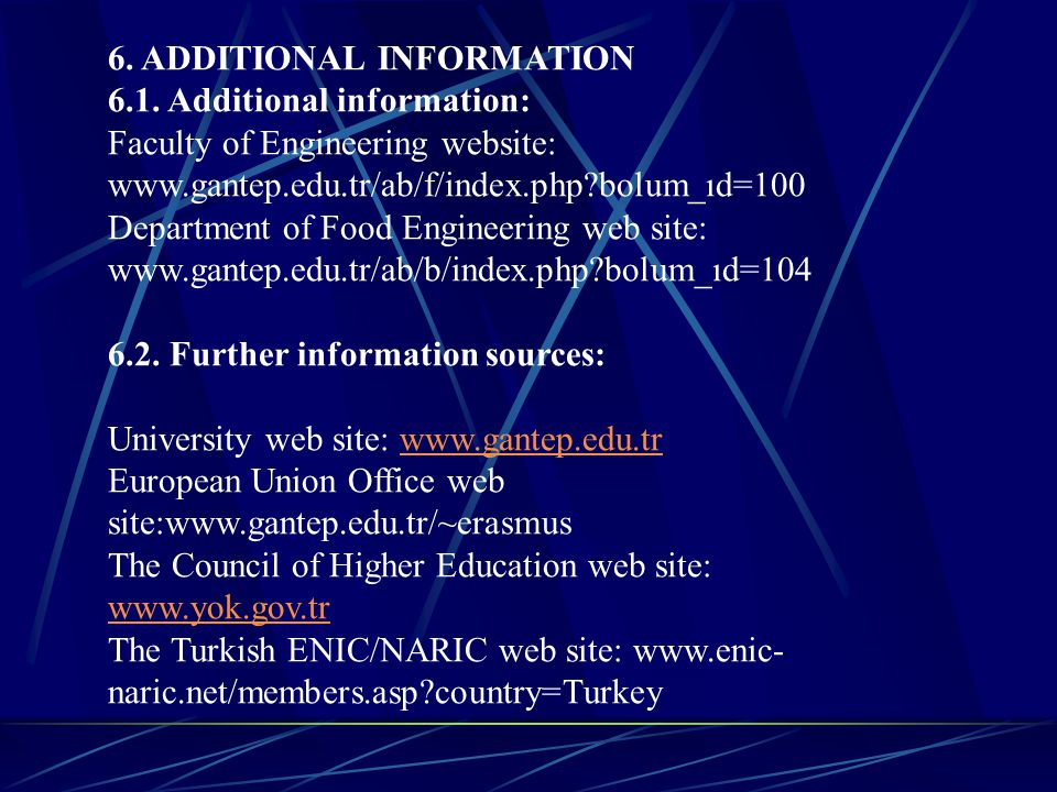 6. ADDITIONAL INFORMATION 6.1. Additional information: