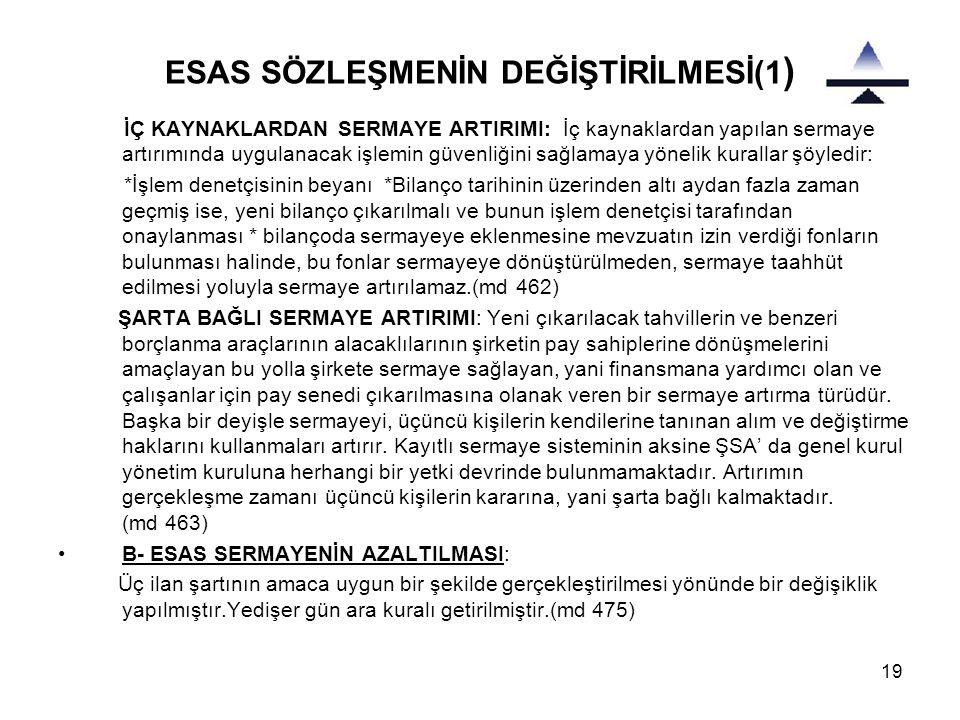 ESAS SÖZLEŞMENİN DEĞİŞTİRİLMESİ(1)