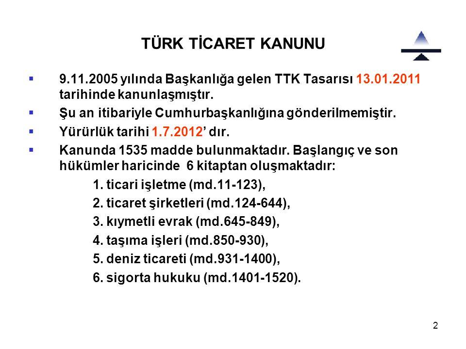 TÜRK TİCARET KANUNU 9.11.2005 yılında Başkanlığa gelen TTK Tasarısı 13.01.2011 tarihinde kanunlaşmıştır.
