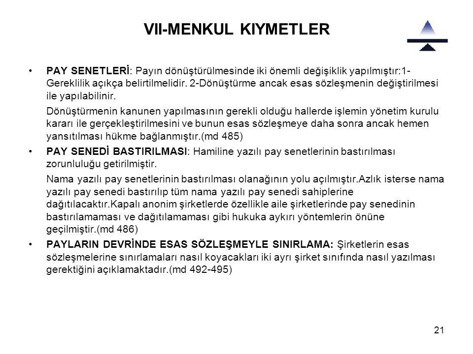 VII-MENKUL KIYMETLER