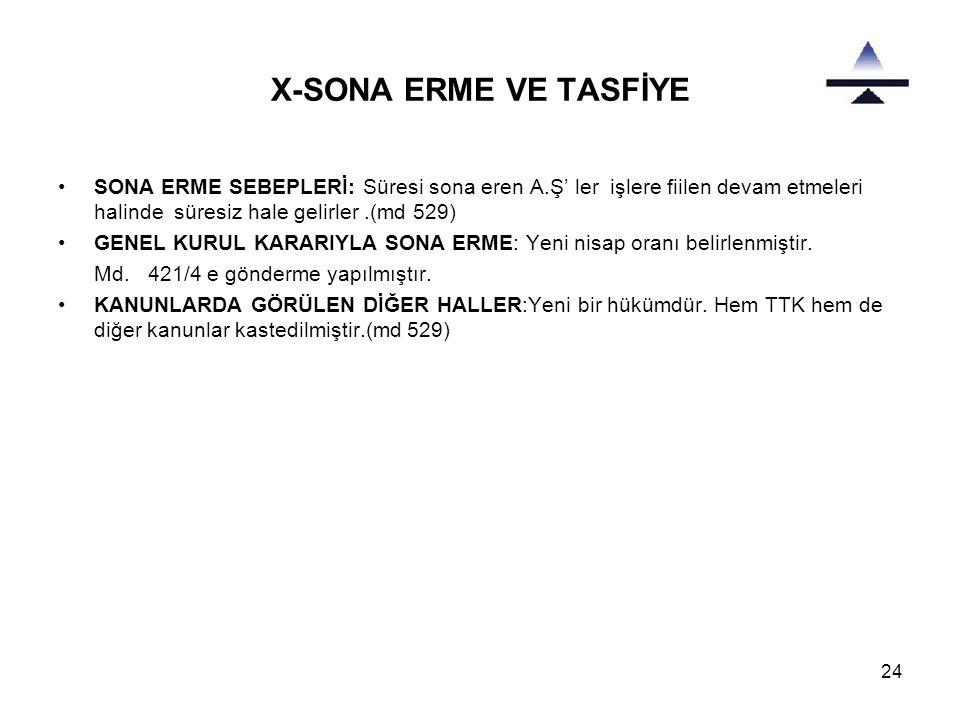 X-SONA ERME VE TASFİYE SONA ERME SEBEPLERİ: Süresi sona eren A.Ş' ler işlere fiilen devam etmeleri halinde süresiz hale gelirler .(md 529)