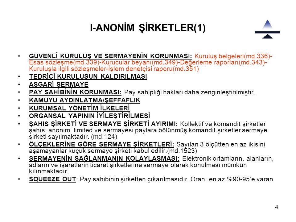 I-ANONİM ŞİRKETLER(1)