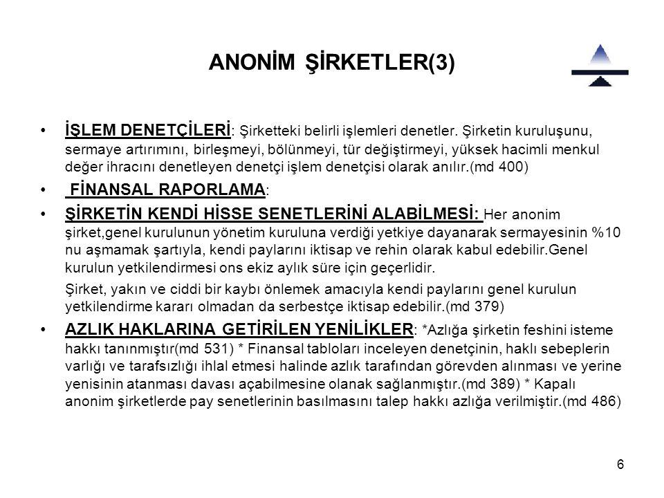 ANONİM ŞİRKETLER(3)