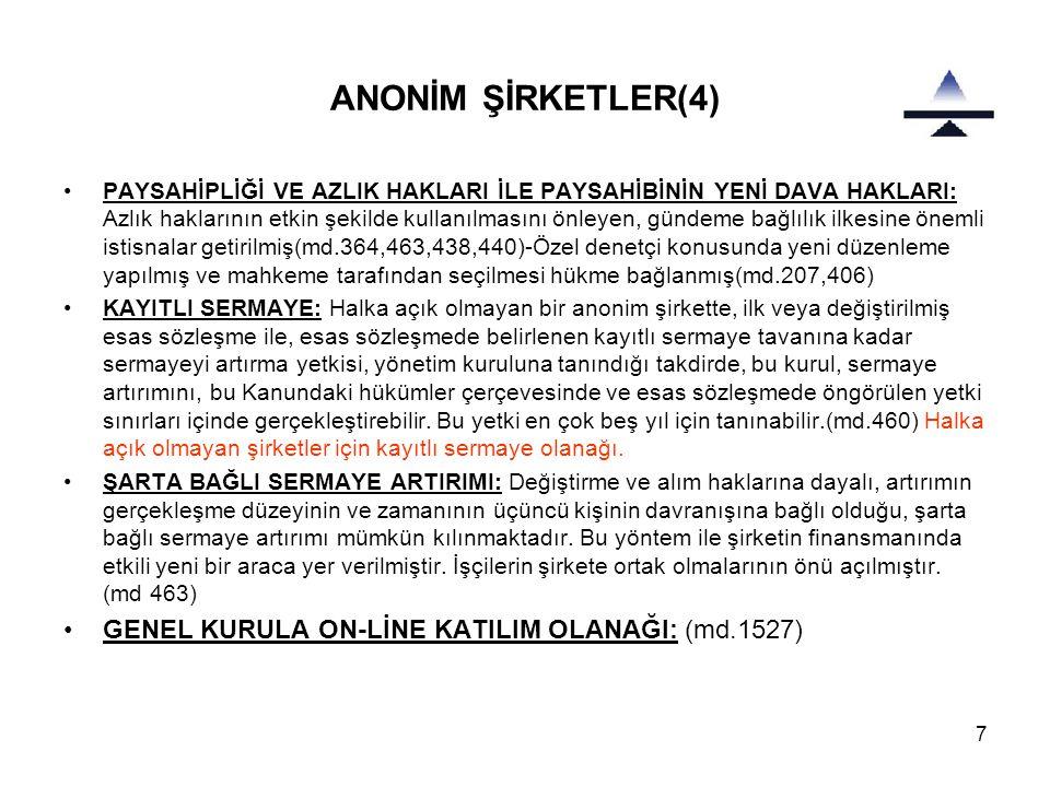 ANONİM ŞİRKETLER(4) GENEL KURULA ON-LİNE KATILIM OLANAĞI: (md.1527)