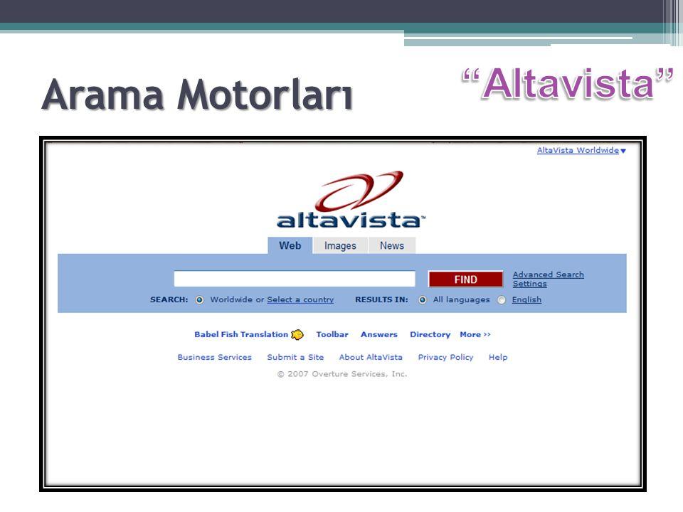 Arama Motorları Altavista