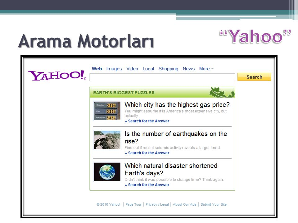 Arama Motorları Yahoo