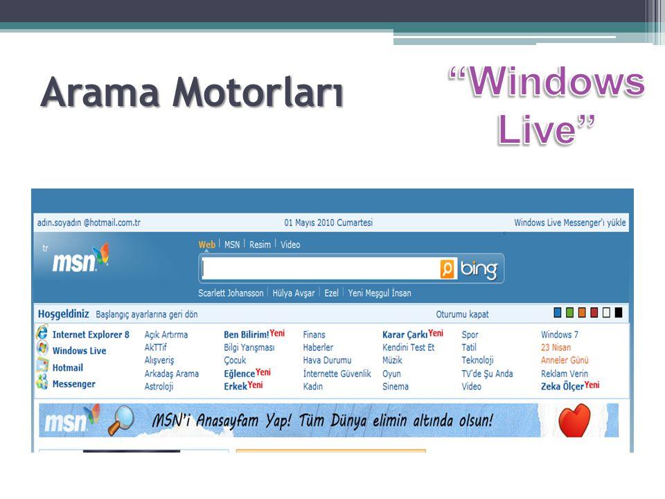 Arama Motorları Windows Live