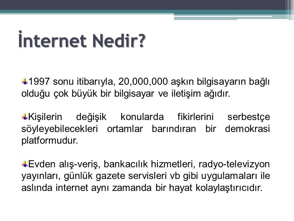 İnternet Nedir 1997 sonu itibarıyla, 20,000,000 aşkın bilgisayarın bağlı olduğu çok büyük bir bilgisayar ve iletişim ağıdır.