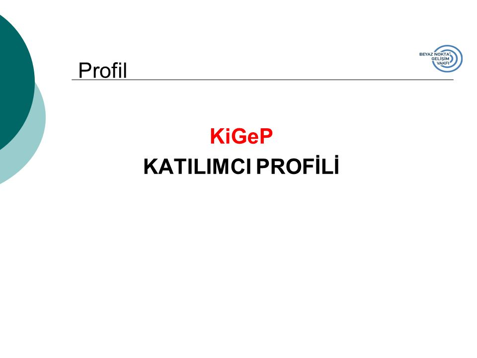 Profil KiGeP KATILIMCI PROFİLİ
