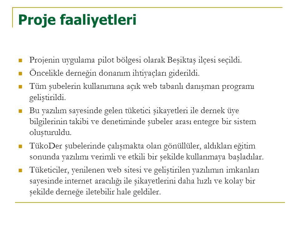 Proje faaliyetleri Projenin uygulama pilot bölgesi olarak Beşiktaş ilçesi seçildi. Öncelikle derneğin donanım ihtiyaçları giderildi.