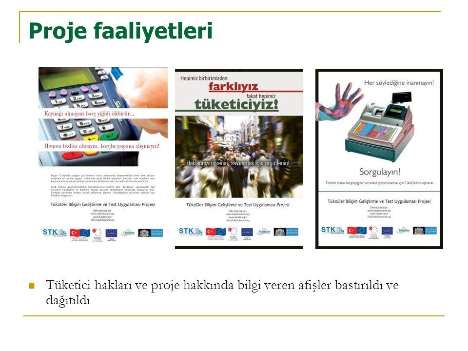 Proje faaliyetleri Tüketici hakları ve proje hakkında bilgi veren afişler bastırıldı ve dağıtıldı