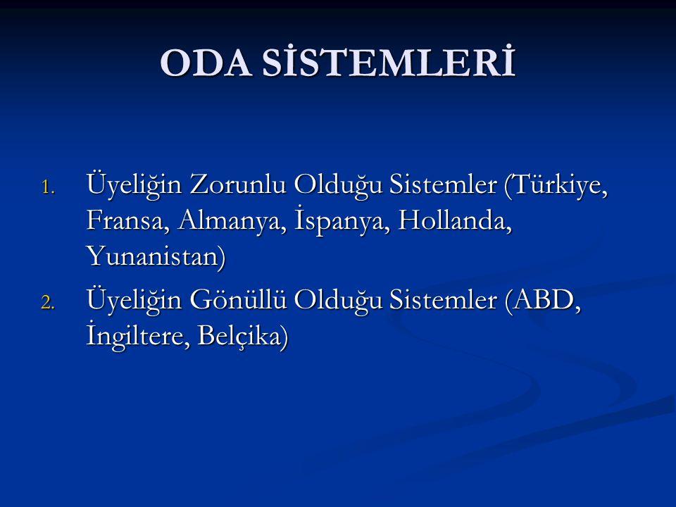 ODA SİSTEMLERİ Üyeliğin Zorunlu Olduğu Sistemler (Türkiye, Fransa, Almanya, İspanya, Hollanda, Yunanistan)