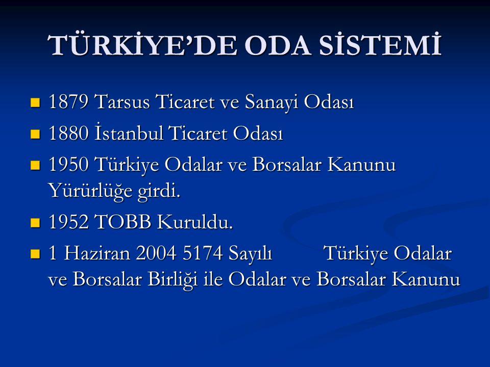 TÜRKİYE'DE ODA SİSTEMİ