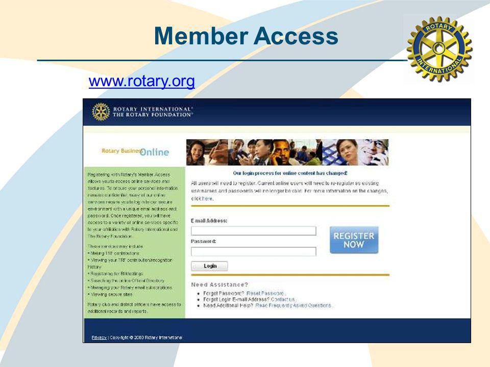 Member Access www.rotary.org
