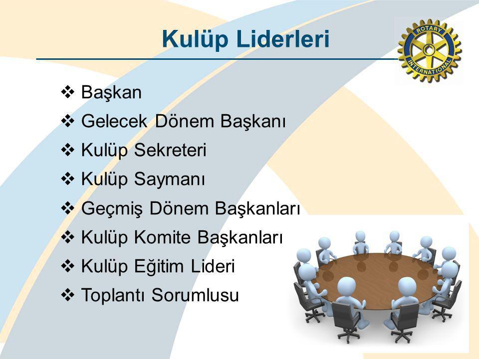 Kulüp Liderleri Başkan Gelecek Dönem Başkanı Kulüp Sekreteri