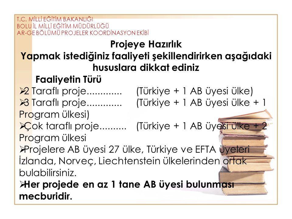 2 Taraflı proje............. (Türkiye + 1 AB üyesi ülke)