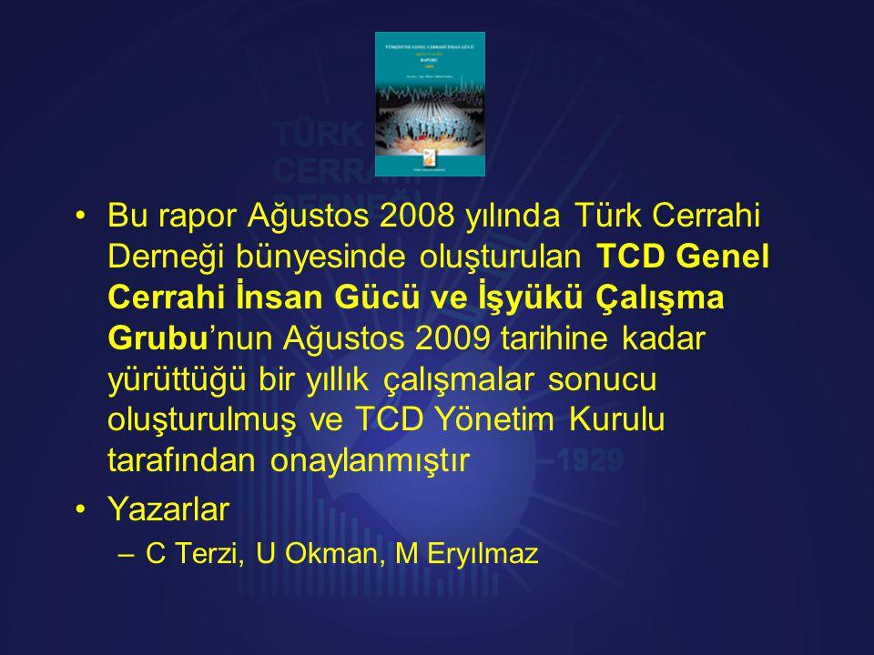 Bu rapor Ağustos 2008 yılında Türk Cerrahi Derneği bünyesinde oluşturulan TCD Genel Cerrahi İnsan Gücü ve İşyükü Çalışma Grubu'nun Ağustos 2009 tarihine kadar yürüttüğü bir yıllık çalışmalar sonucu oluşturulmuş ve TCD Yönetim Kurulu tarafından onaylanmıştır