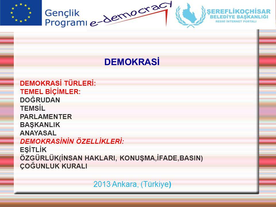DEMOKRASİ 2013 Ankara, (Türkiye) DEMOKRASİ TÜRLERİ: TEMEL BİÇİMLER: