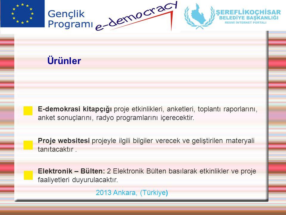 Ürünler E-demokrasi kitapçığı proje etkinlikleri, anketleri, toplantı raporlarını, anket sonuçlarını, radyo programlarını içerecektir.