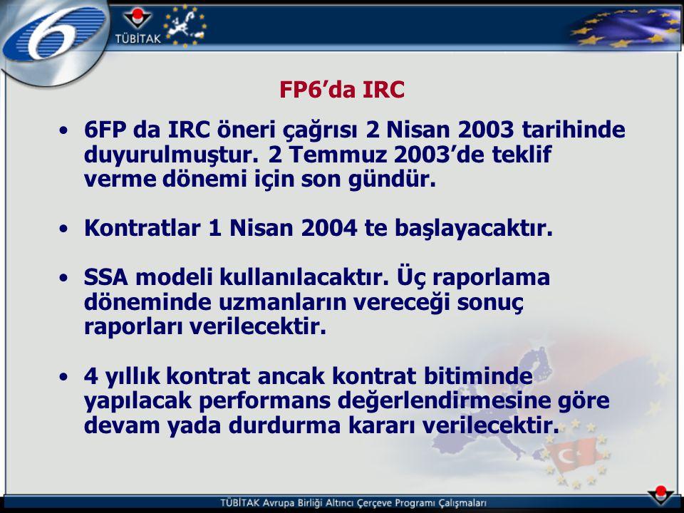 FP6'da IRC 6FP da IRC öneri çağrısı 2 Nisan 2003 tarihinde duyurulmuştur. 2 Temmuz 2003'de teklif verme dönemi için son gündür.