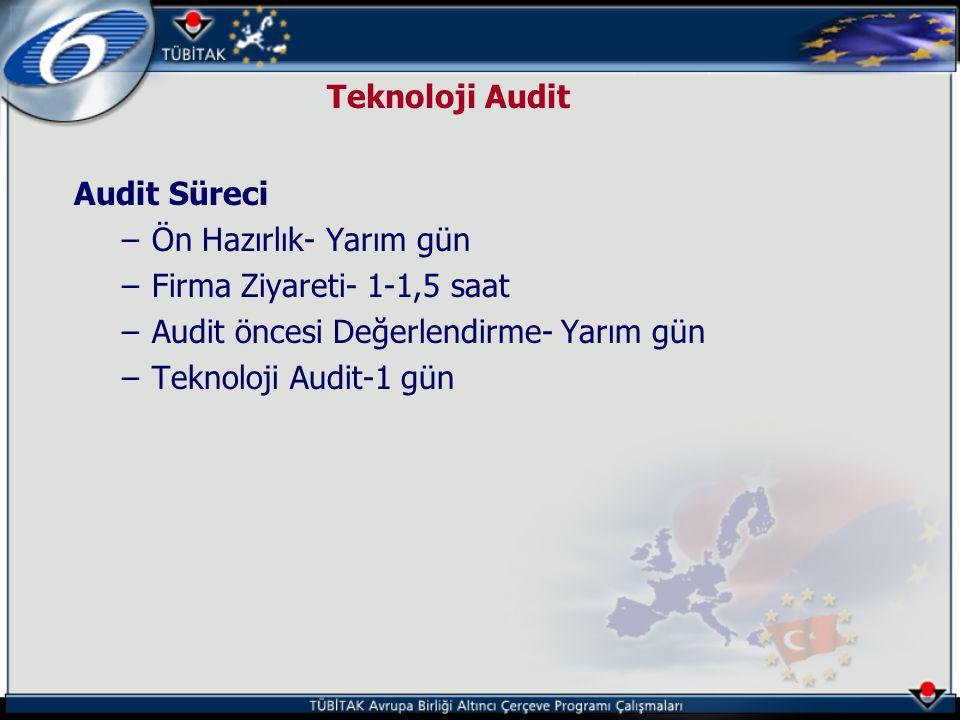 Teknoloji Audit Audit Süreci. Ön Hazırlık- Yarım gün. Firma Ziyareti- 1-1,5 saat. Audit öncesi Değerlendirme- Yarım gün.