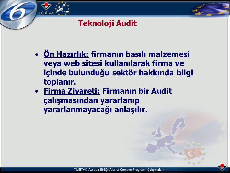 Teknoloji Audit Ön Hazırlık: firmanın basılı malzemesi veya web sitesi kullanılarak firma ve içinde bulunduğu sektör hakkında bilgi toplanır.