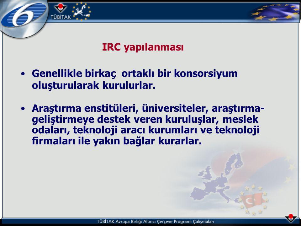 IRC yapılanması Genellikle birkaç ortaklı bir konsorsiyum oluşturularak kurulurlar.