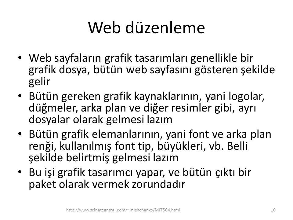 Web düzenleme Web sayfaların grafik tasarımları genellikle bir grafik dosya, bütün web sayfasını gösteren şekilde gelir.