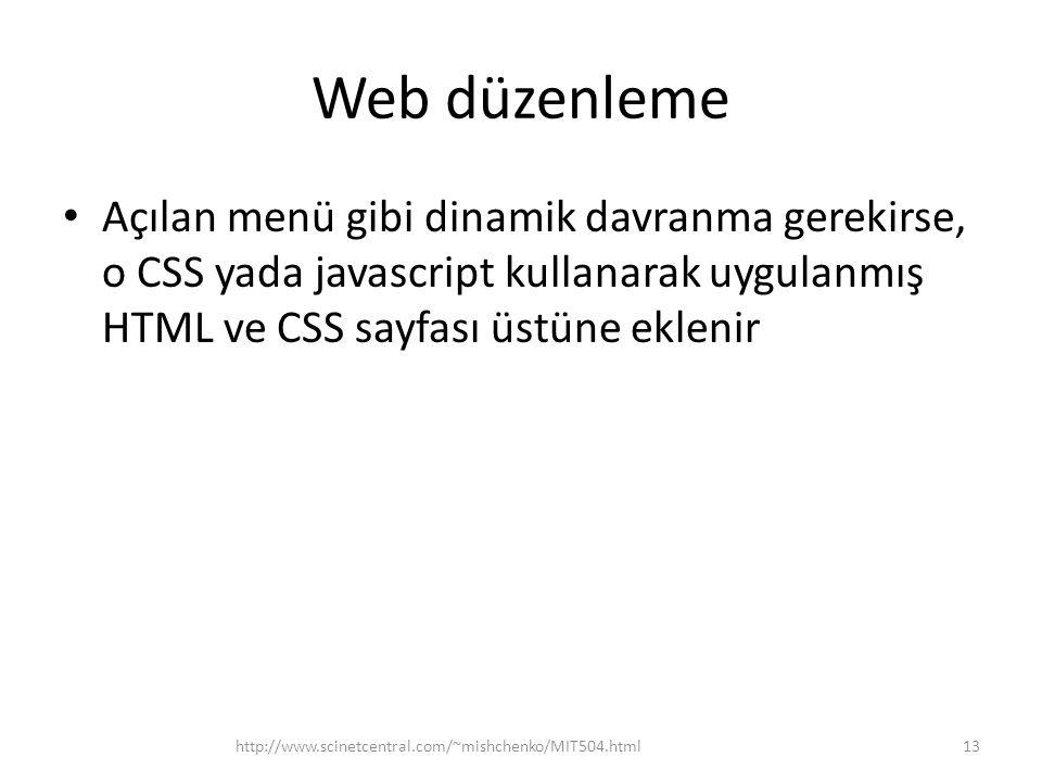 Web düzenleme Açılan menü gibi dinamik davranma gerekirse, o CSS yada javascript kullanarak uygulanmış HTML ve CSS sayfası üstüne eklenir.