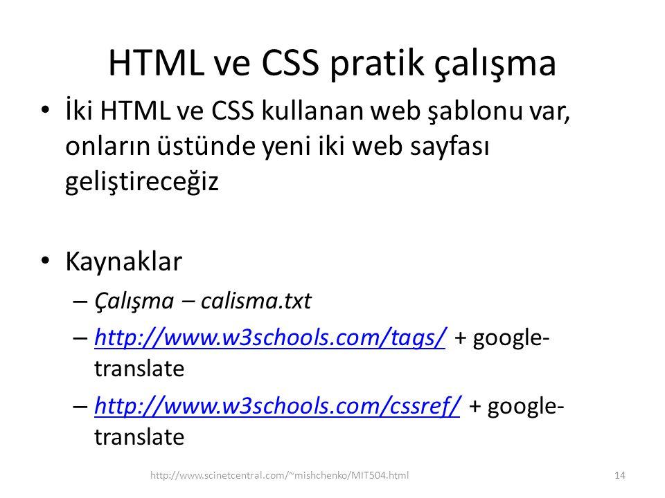 HTML ve CSS pratik çalışma