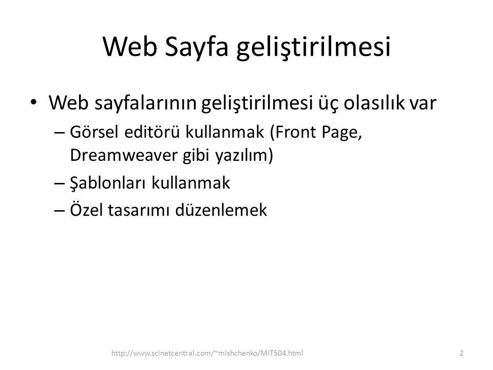 Web Sayfa geliştirilmesi