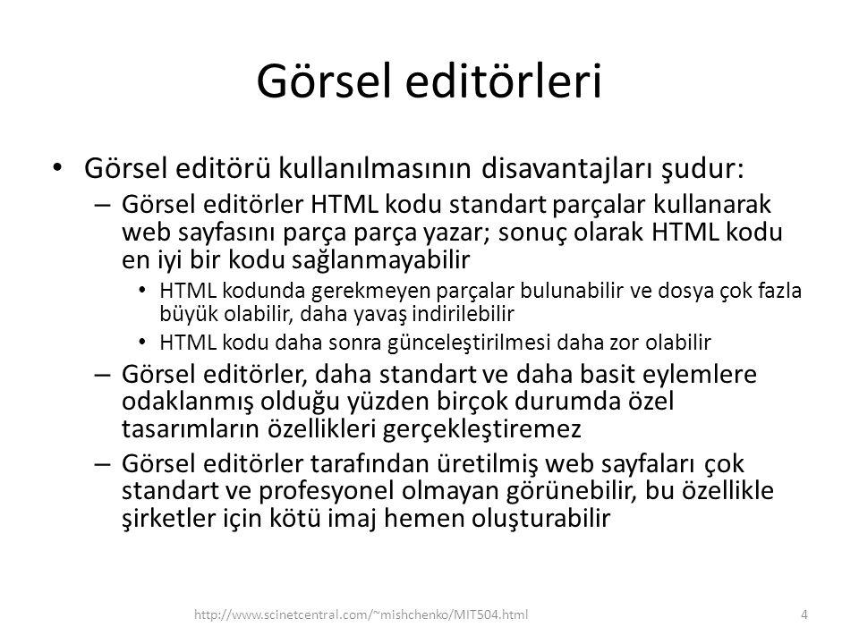 Görsel editörleri Görsel editörü kullanılmasının disavantajları şudur:
