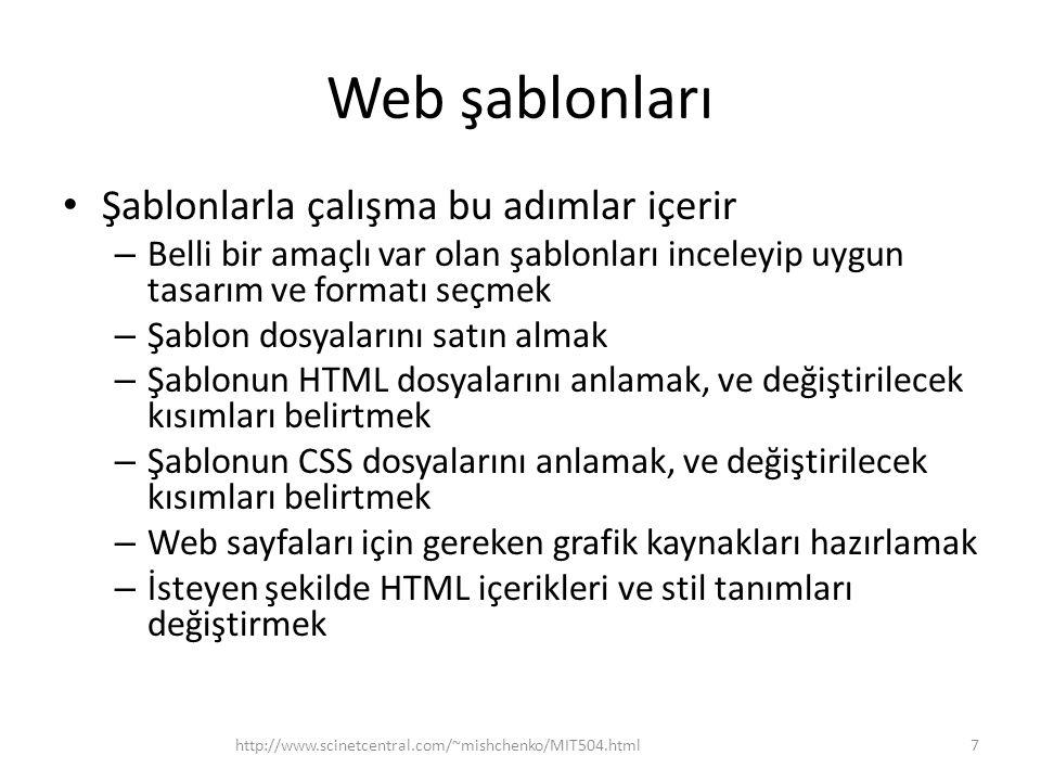 Web şablonları Şablonlarla çalışma bu adımlar içerir