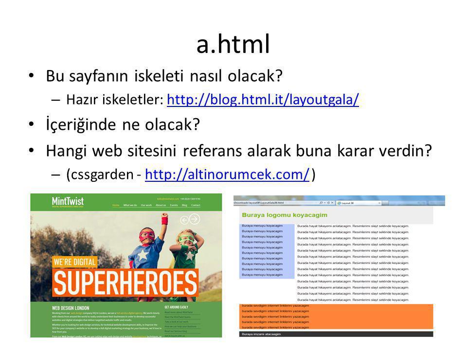 a.html Bu sayfanın iskeleti nasıl olacak İçeriğinde ne olacak
